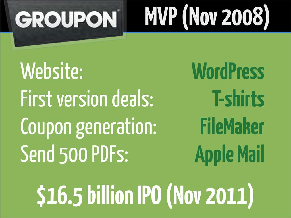 Website: First version deals: Coupon generation...