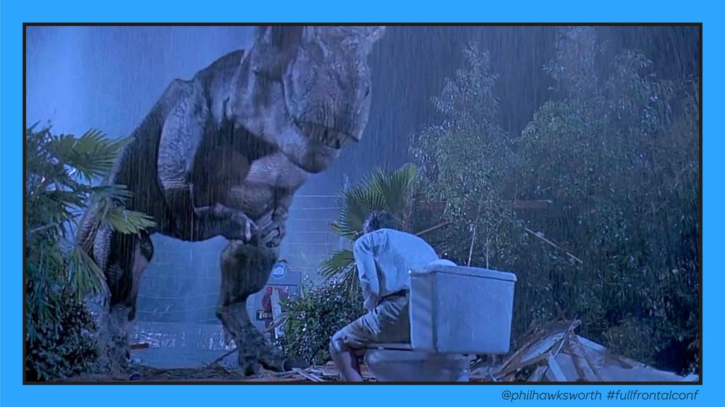 Eaten by dinosaurs @philhawksworth #fullfrontal...