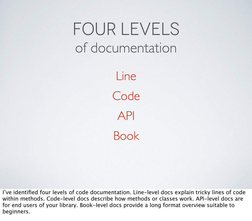 FOUR LEVELS of documentation Line Code API Book...