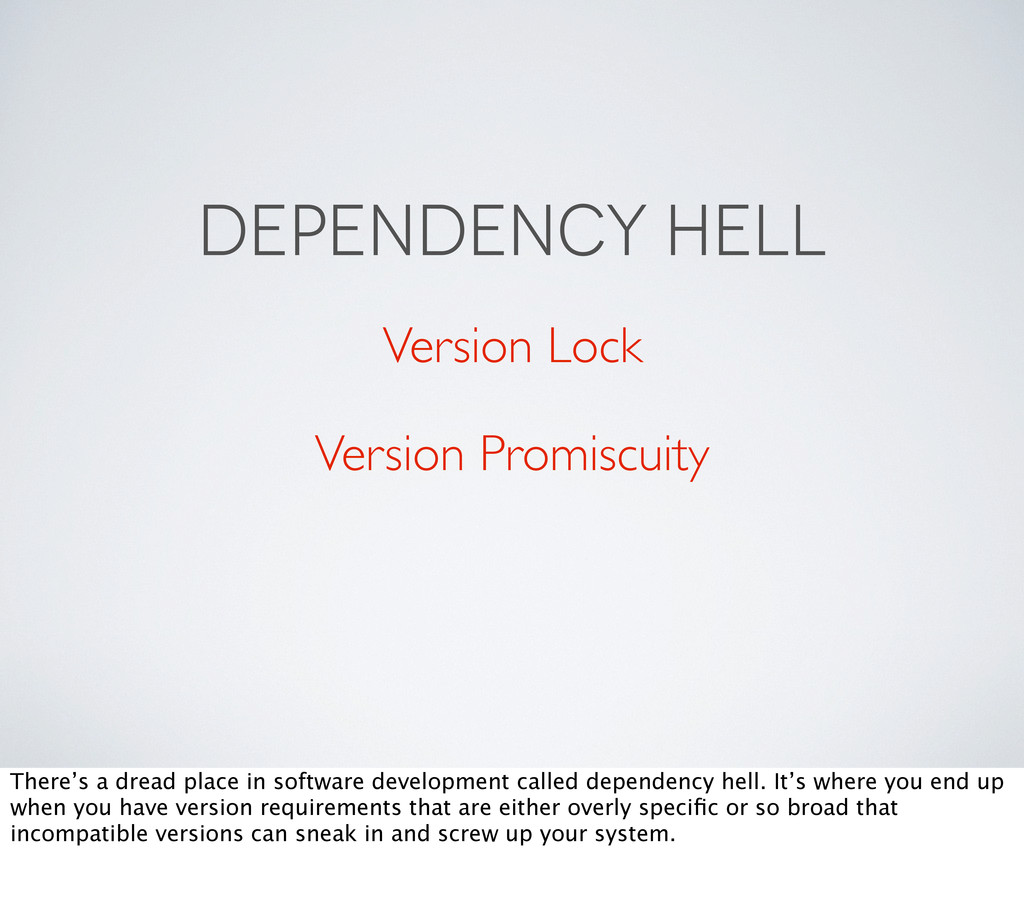 DEPENDENCY HELL Version Lock Version Promiscuit...