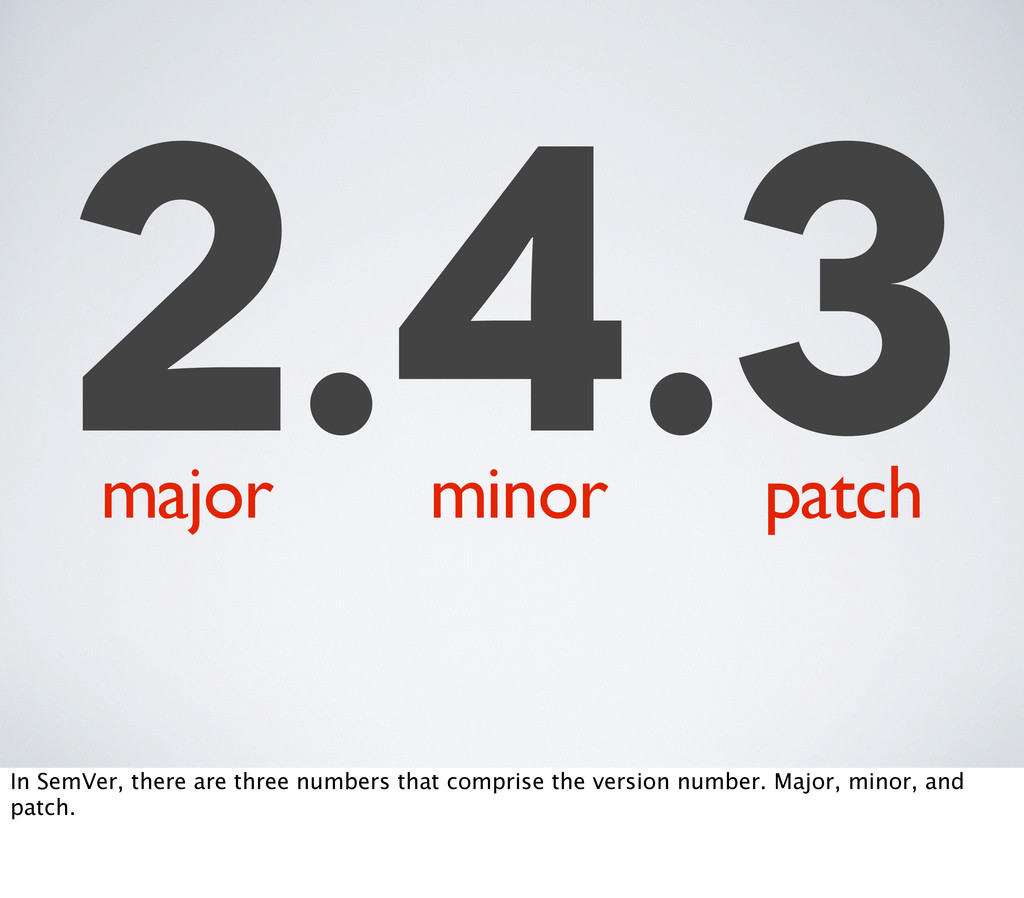 2.4.3 major minor patch In SemVer, there are th...