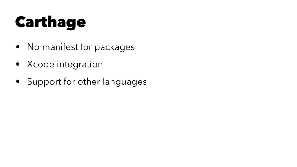 Carthage • No manifest for packages • Xcode int...
