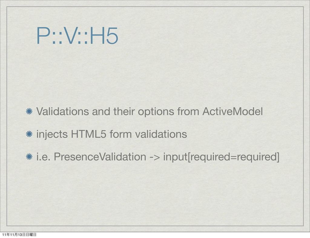 P::V::H5 Validations and their options from Act...
