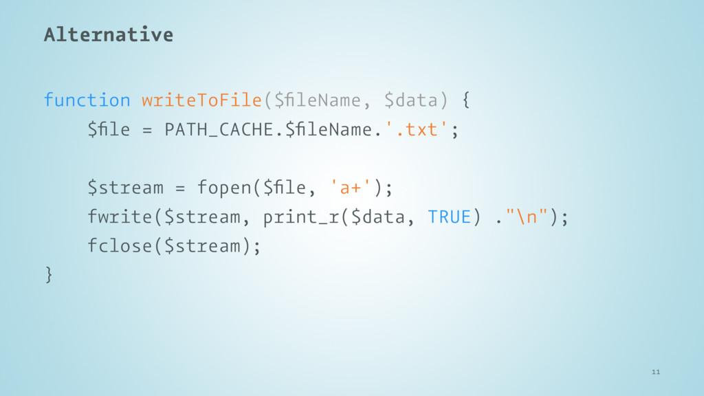 Alternative function writeToFile($fileName, $dat...
