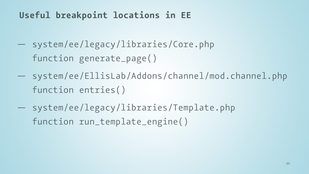 Useful breakpoint locations in EE — system/ee/l...