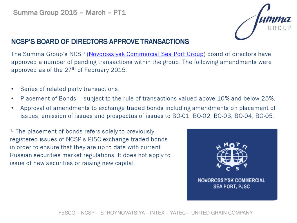 NCSP'S BOARD OF DIRECTORS APPROVE TRANSACTIONS ...