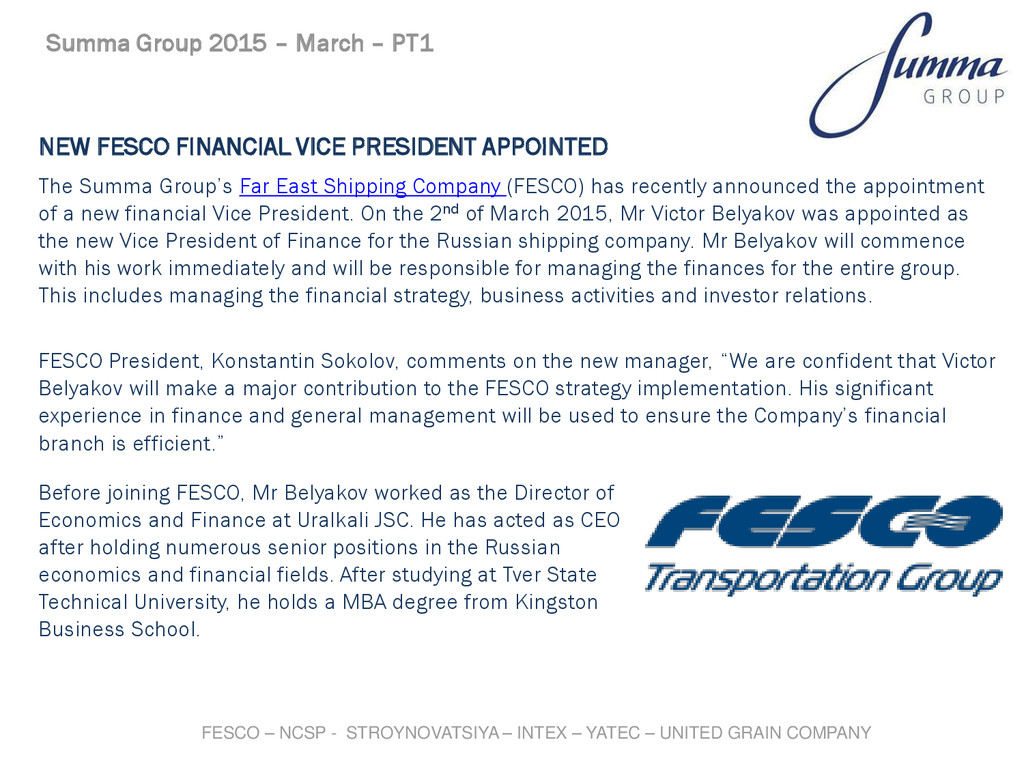 NEW FESCO FINANCIAL VICE PRESIDENT APPOINTED Th...