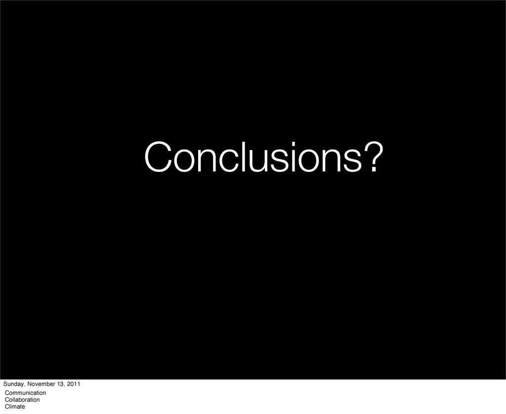 Conclusions? Sunday, November 13, 2011 Communic...