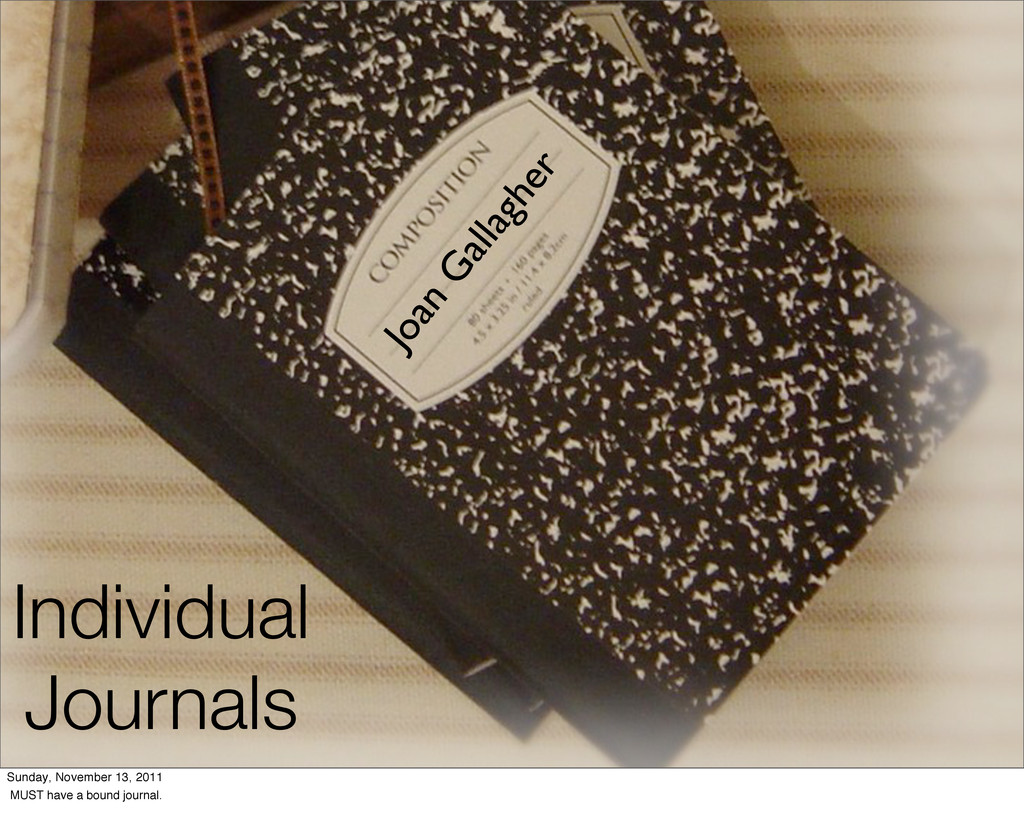 Individual Journals Joan Gallagher Sunday, Nove...