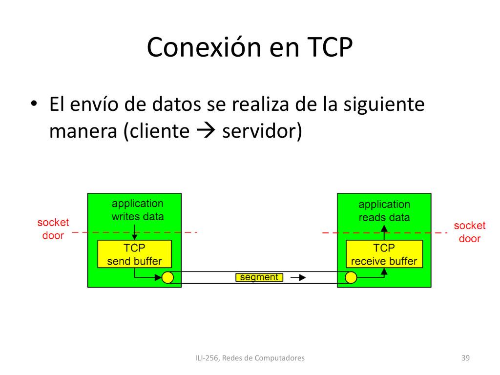 Conexión en TCP • El envío de datos se realiza ...