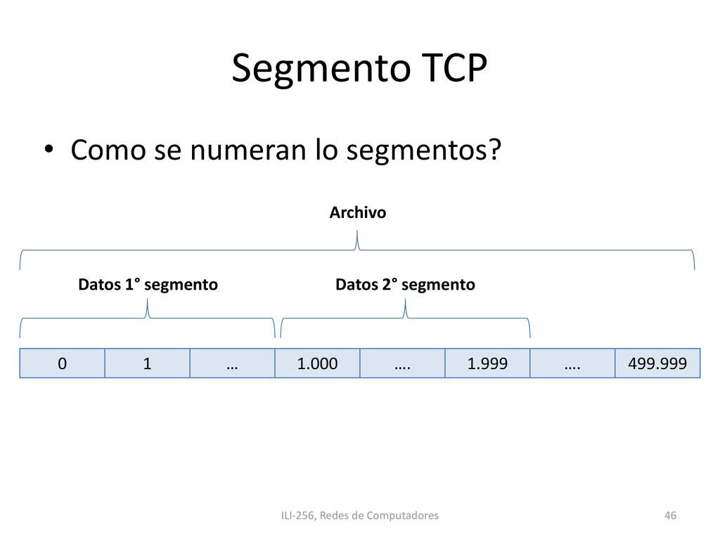 Segmento TCP • Como se numeran lo segmentos? IL...