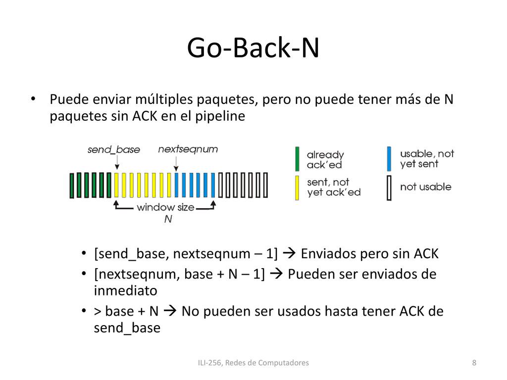 Go-Back-N • Puede enviar múltiples paquetes, pe...