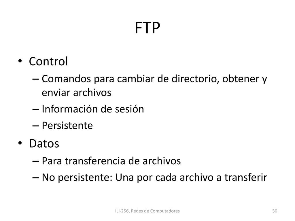 FTP • Control – Comandos para cambiar de direct...