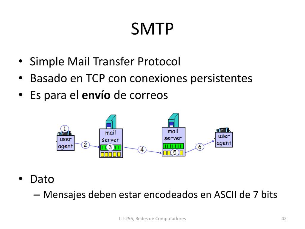 SMTP • Simple Mail Transfer Protocol • Basado e...