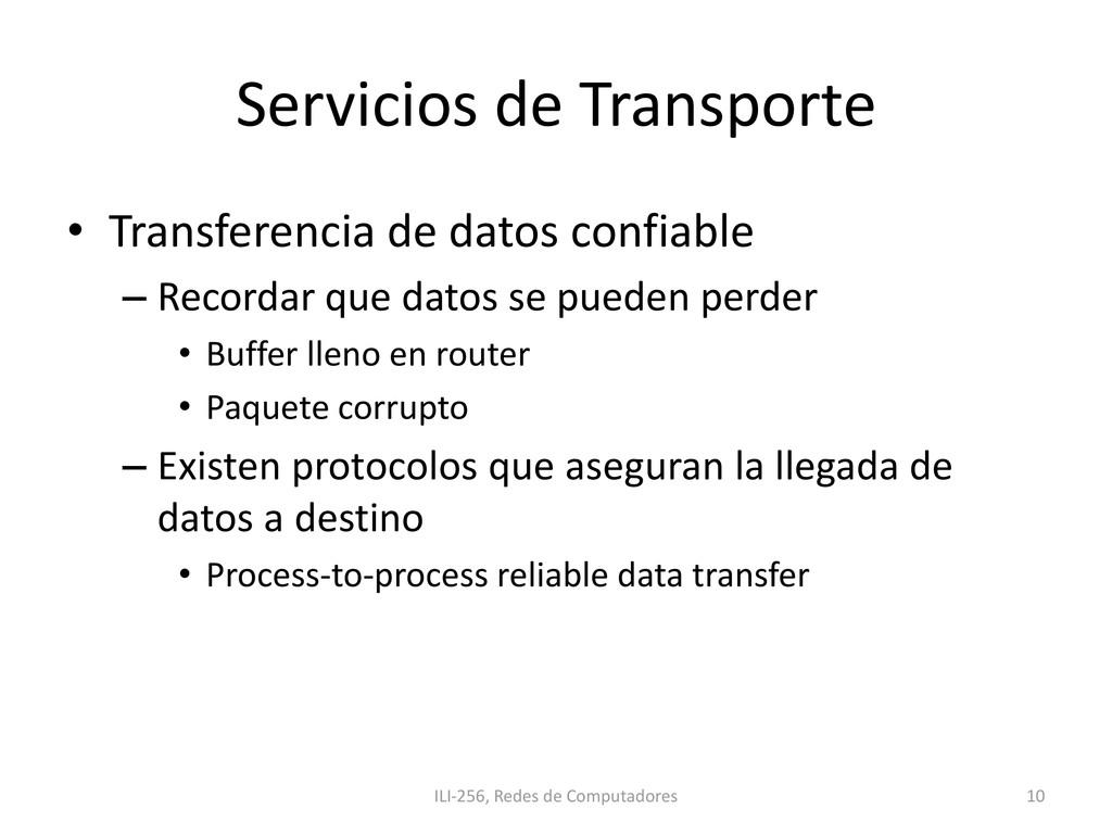 Servicios de Transporte • Transferencia de dato...