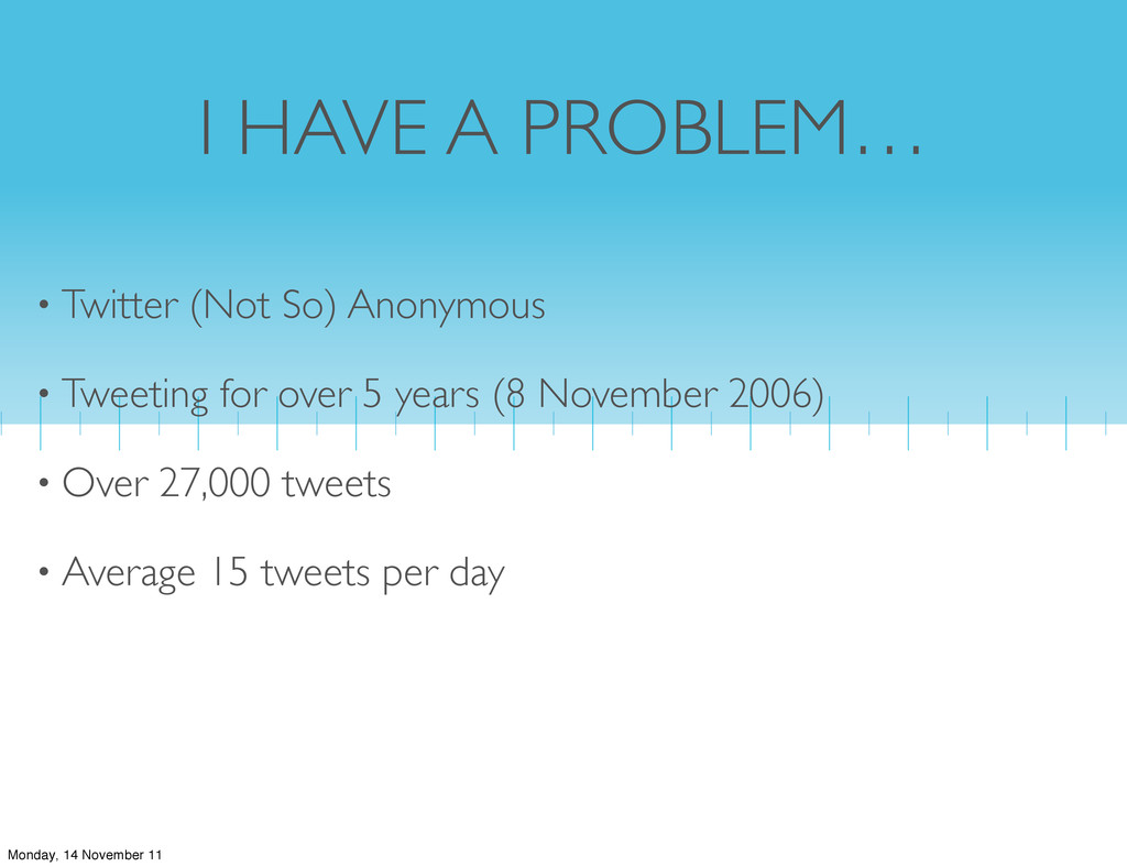 I HAVE A PROBLEM… • Twitter (Not So) Anonymous ...