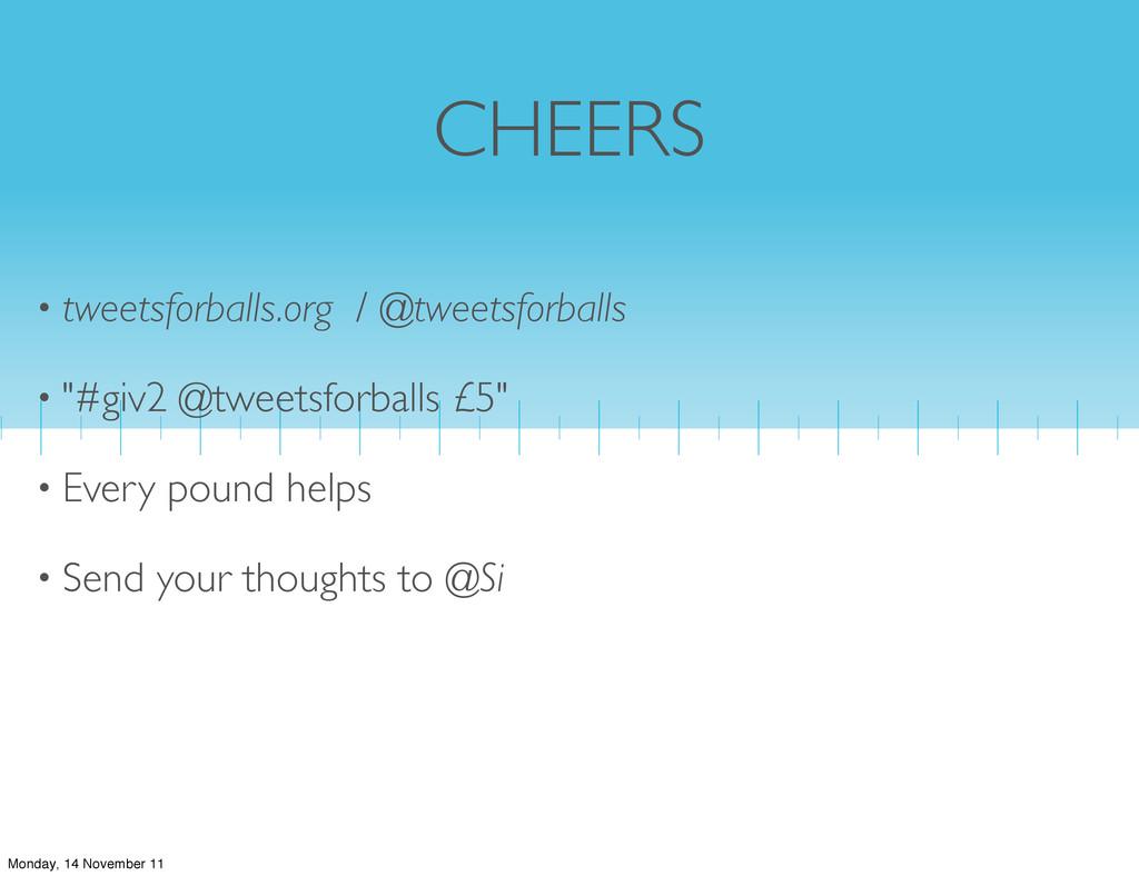 CHEERS • tweetsforballs.org / @tweetsforballs •...
