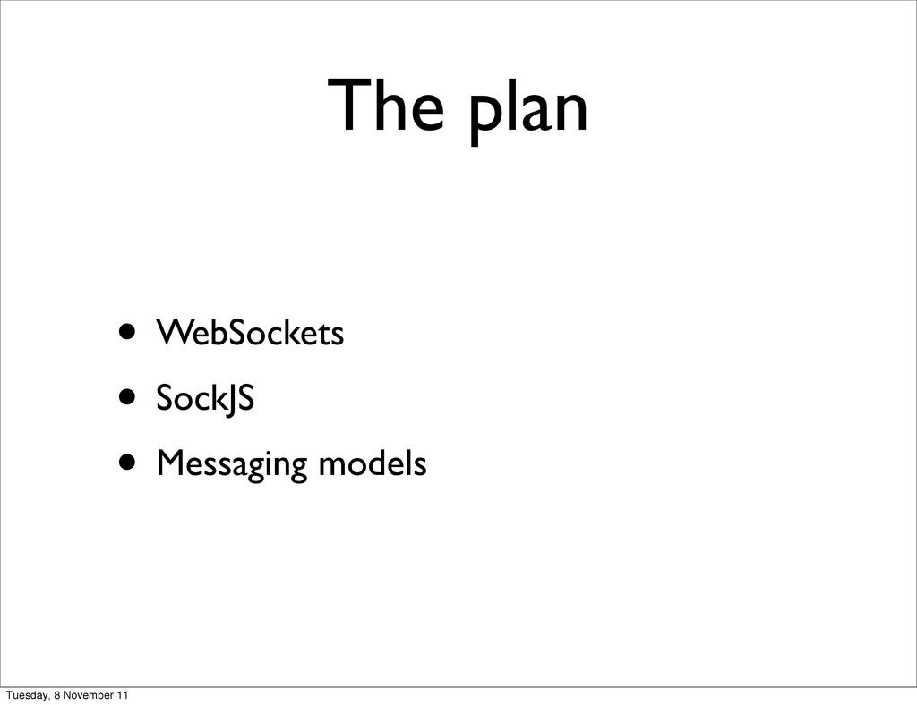 The plan • WebSockets • SockJS • Messaging mode...