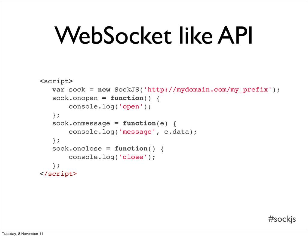 #sockjs WebSocket like API <script> var sock = ...