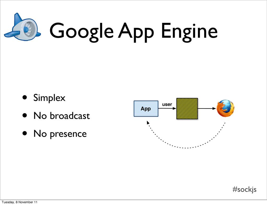 #sockjs Google App Engine • Simplex • No broadc...