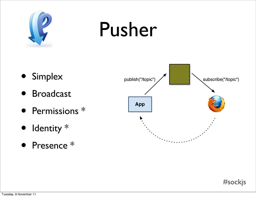 #sockjs Pusher • Simplex • Broadcast • Permissi...