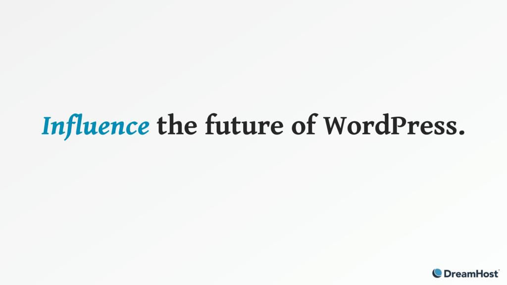 Influence the future of WordPress.