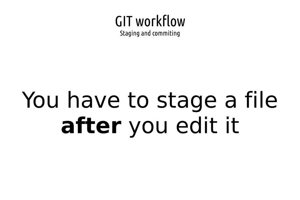 GIT workflow Staging and commiting You have to ...