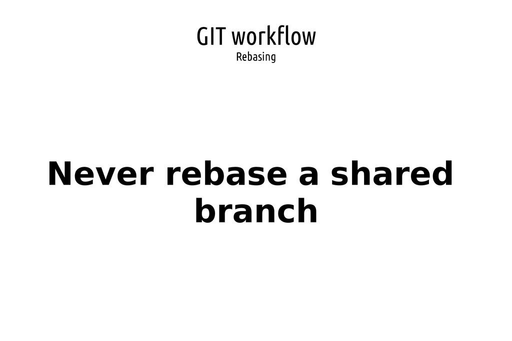 GIT workflow Rebasing Never rebase a shared bra...
