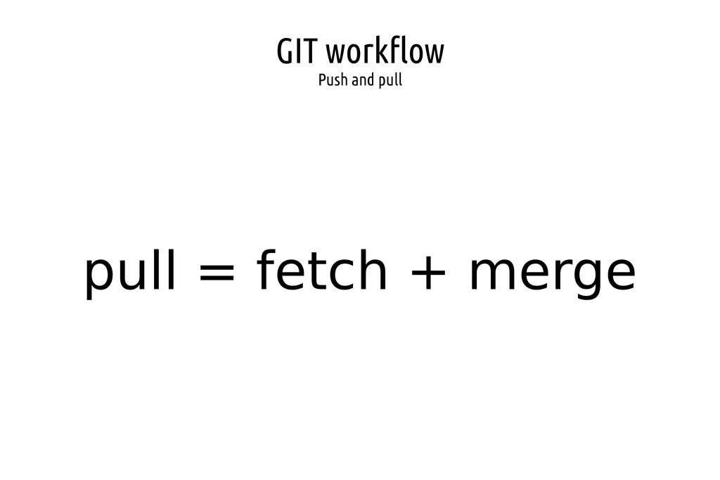 GIT workflow Push and pull pull = fetch + merge