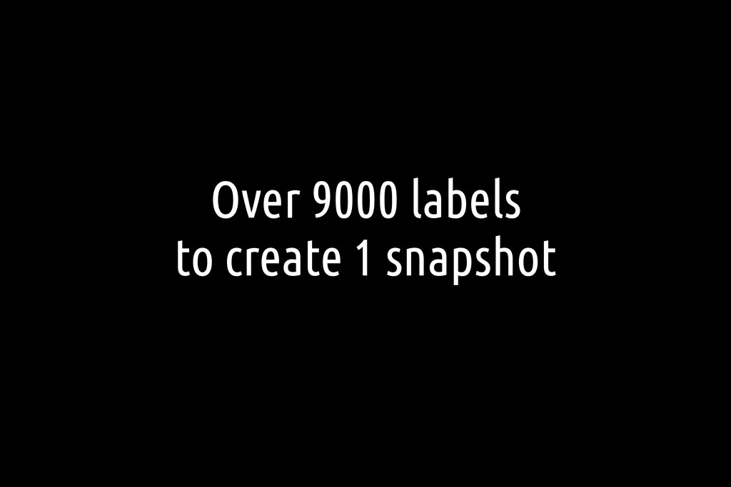 Over 9000 labels to create 1 snapshot