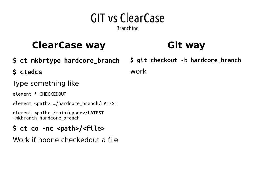 GIT vs ClearCase Branching ClearCase way Git wa...
