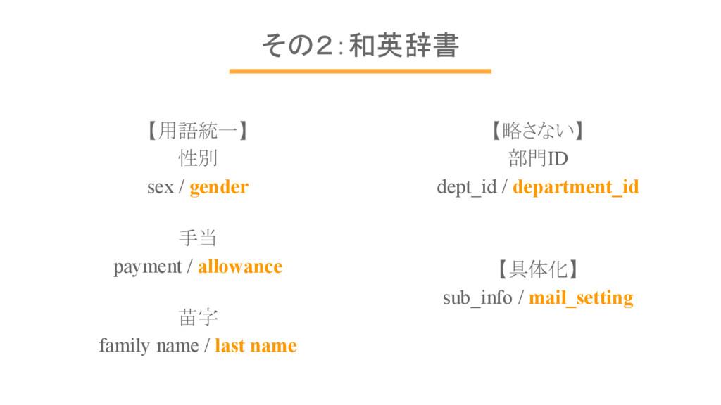 【略さない】 部門ID dept_id / department_id 【具体化】 sub_i...