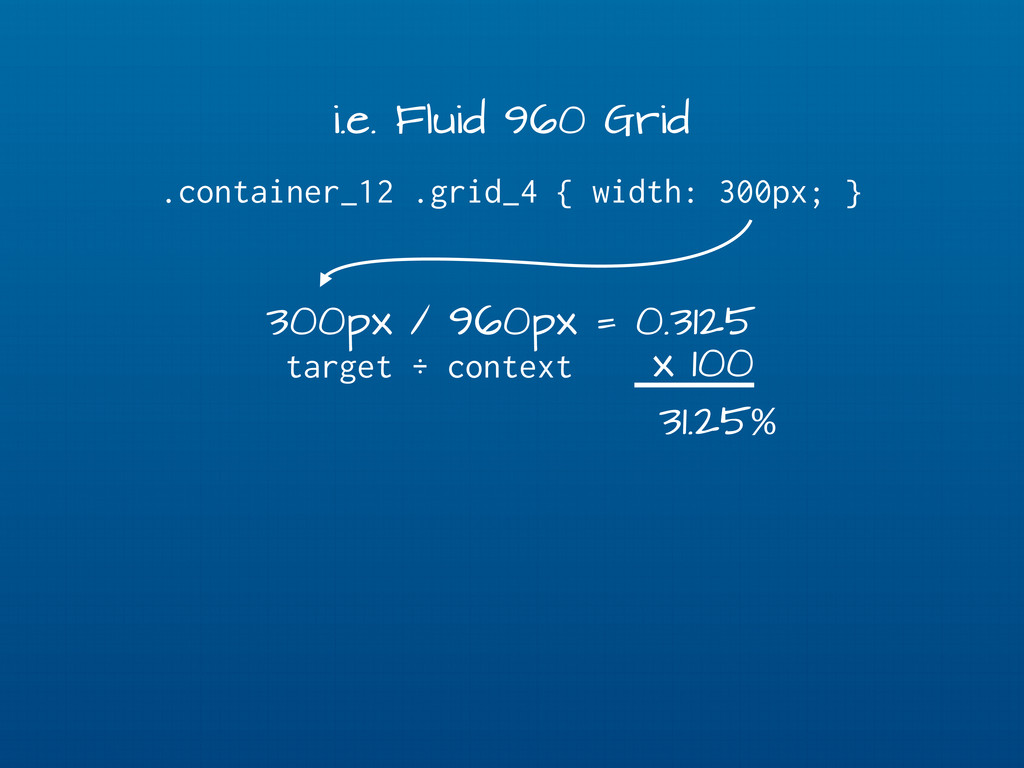 i.e. Fluid 960 Grid .container_12 .grid_4 { wid...