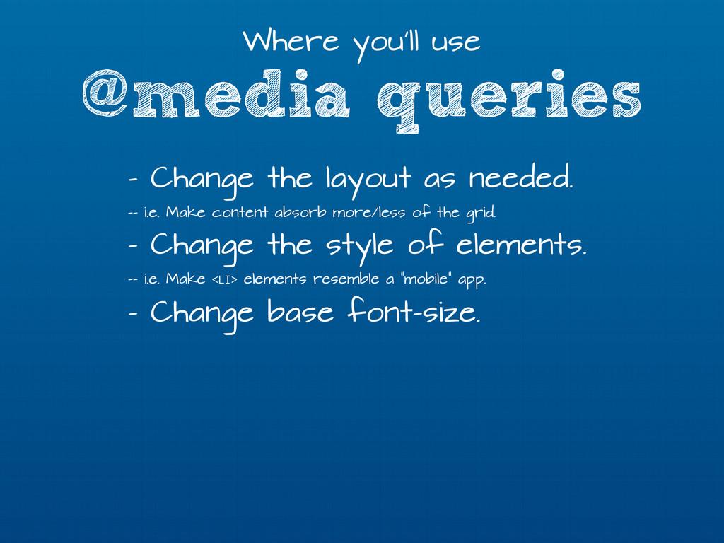 @media queries Where you'll use - Change the la...