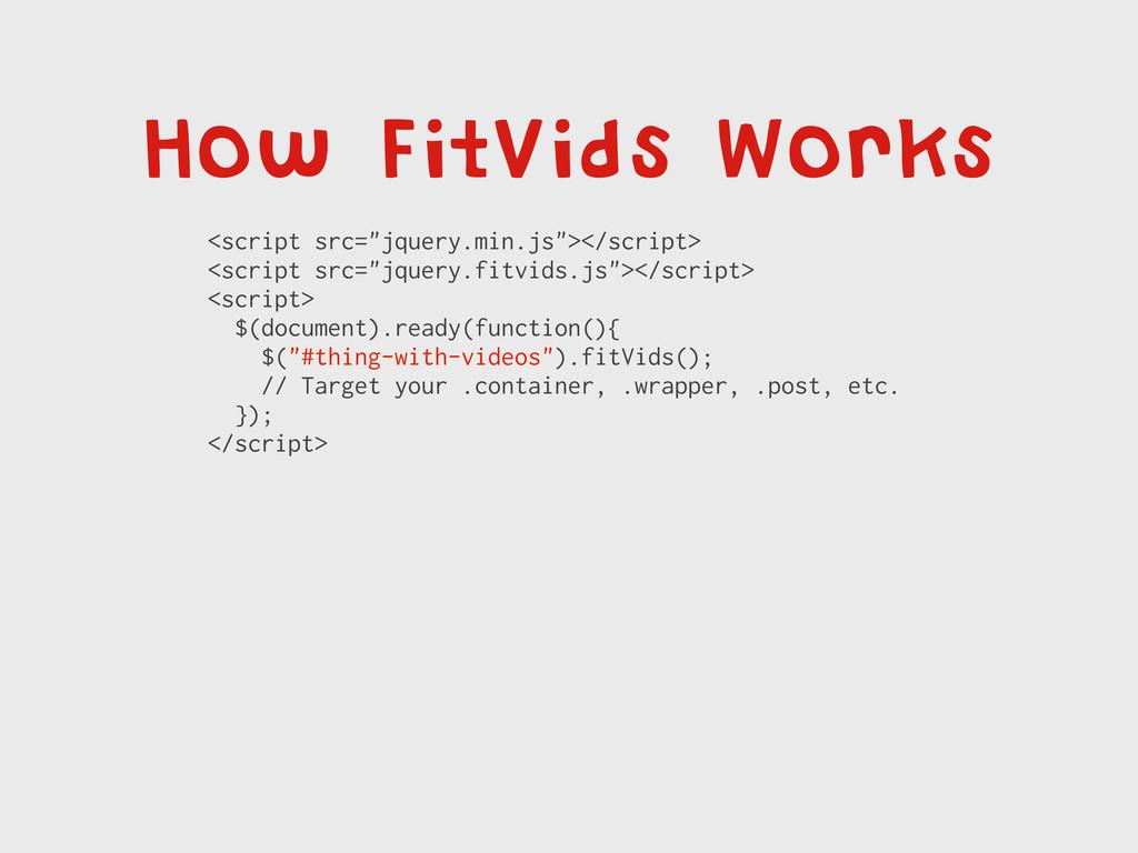 "How FitVids Works <script src=""jquery.min.js""><..."