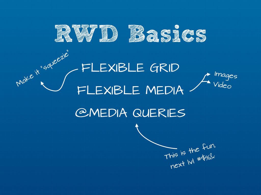RWD Basics FLEXIBLE GRID FLEXIBLE MEDIA @MEDIA ...