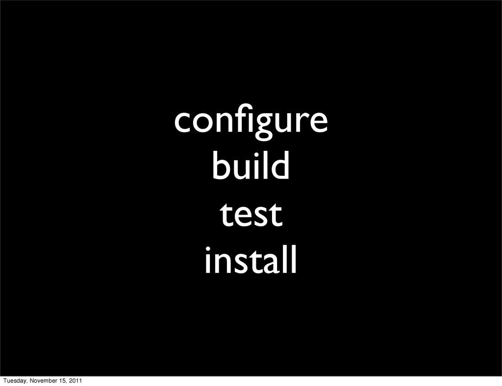 configure build test install Tuesday, November 1...