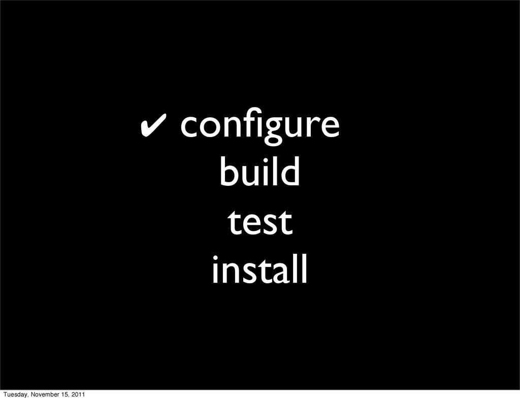 configure build test install ✔ Tuesday, November...
