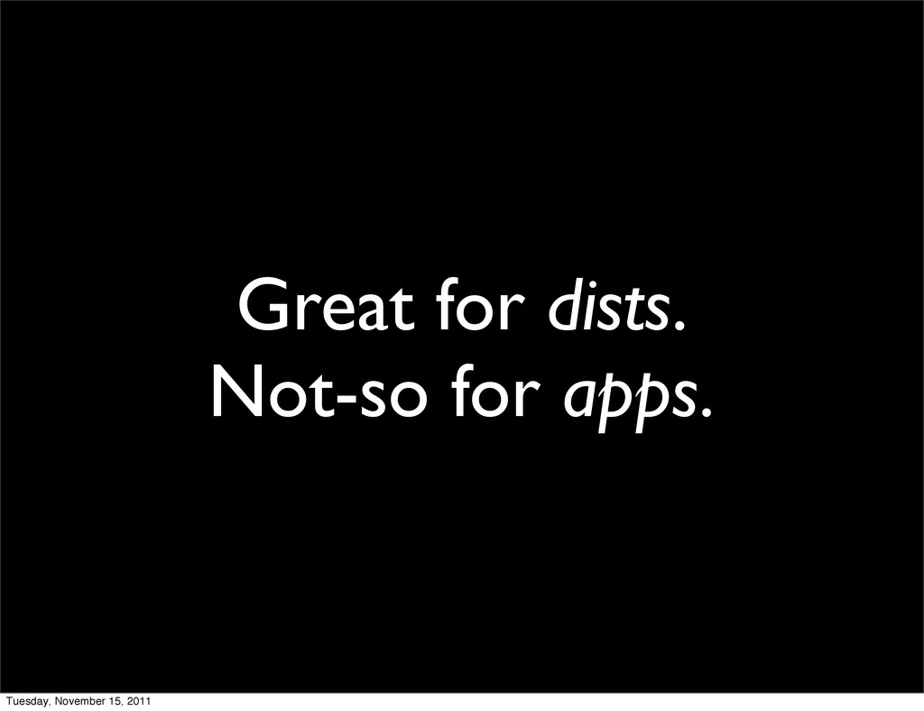 Great for dists. Not-so for apps. Tuesday, Nove...