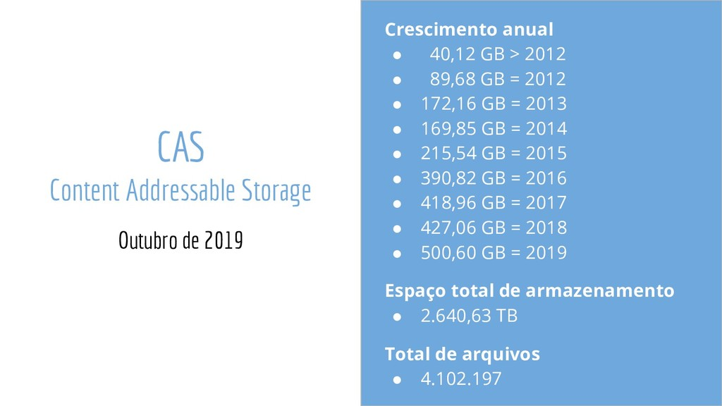 CAS Content Addressable Storage Outubro de 2019...