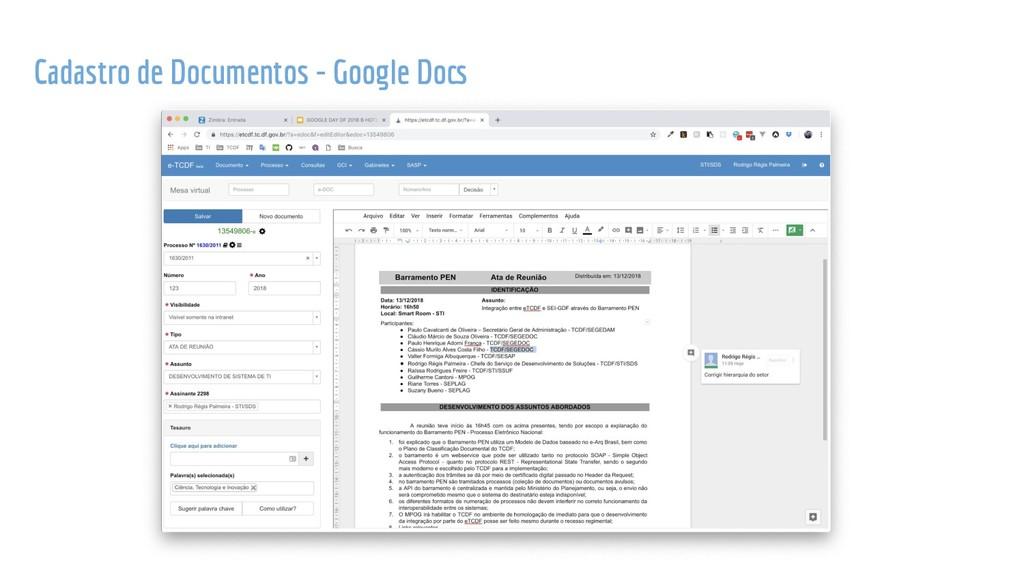 Cadastro de Documentos - Google Docs
