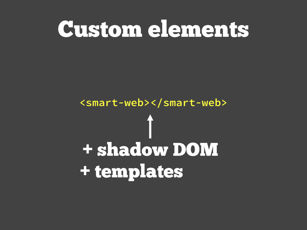Custom elements + shadow DOM + templates <smart...