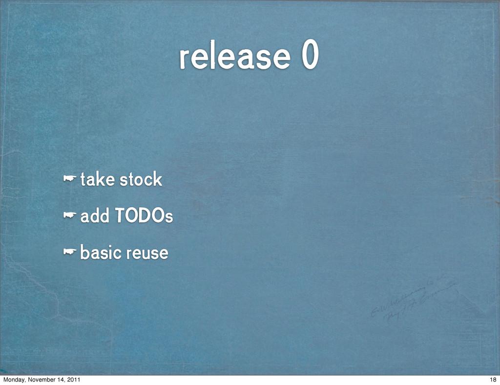 release 0 ☛ take stock ☛ add TODOs ☛ basic reus...