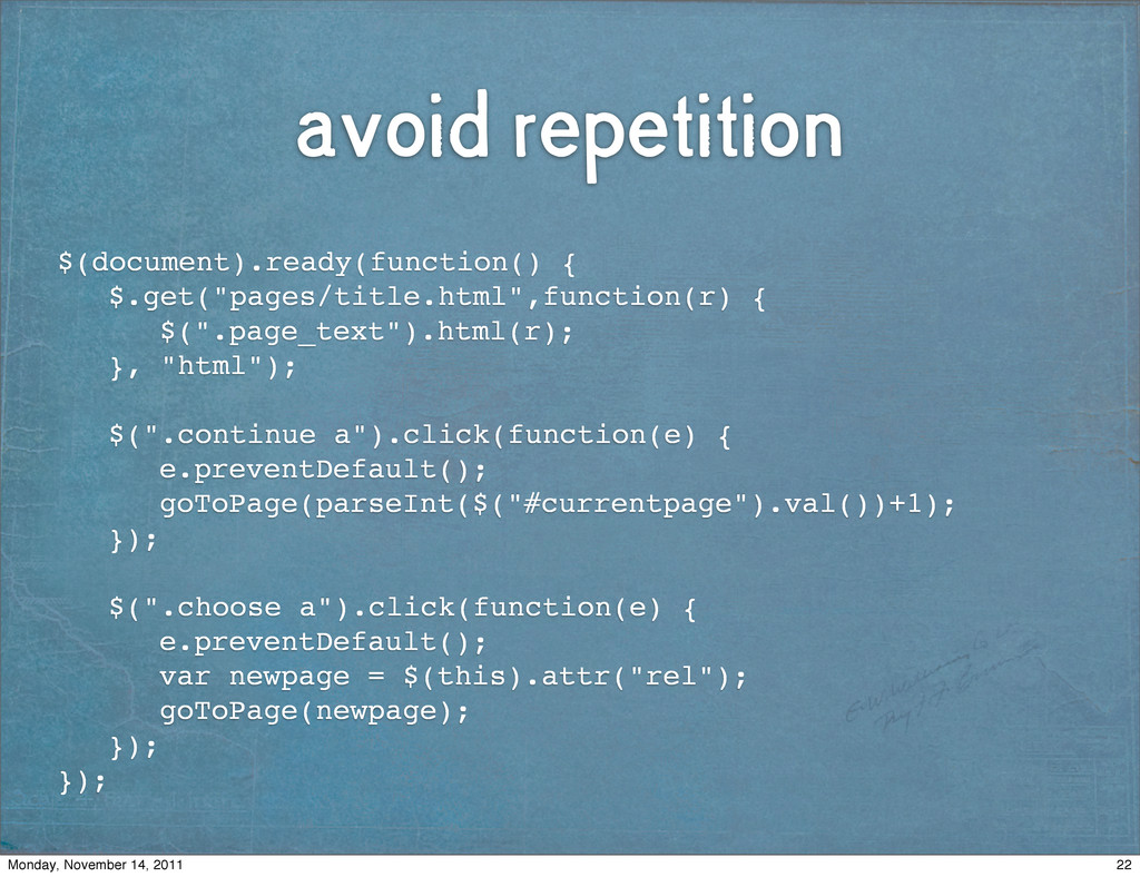 avoid repetition $(document).ready(function() {...