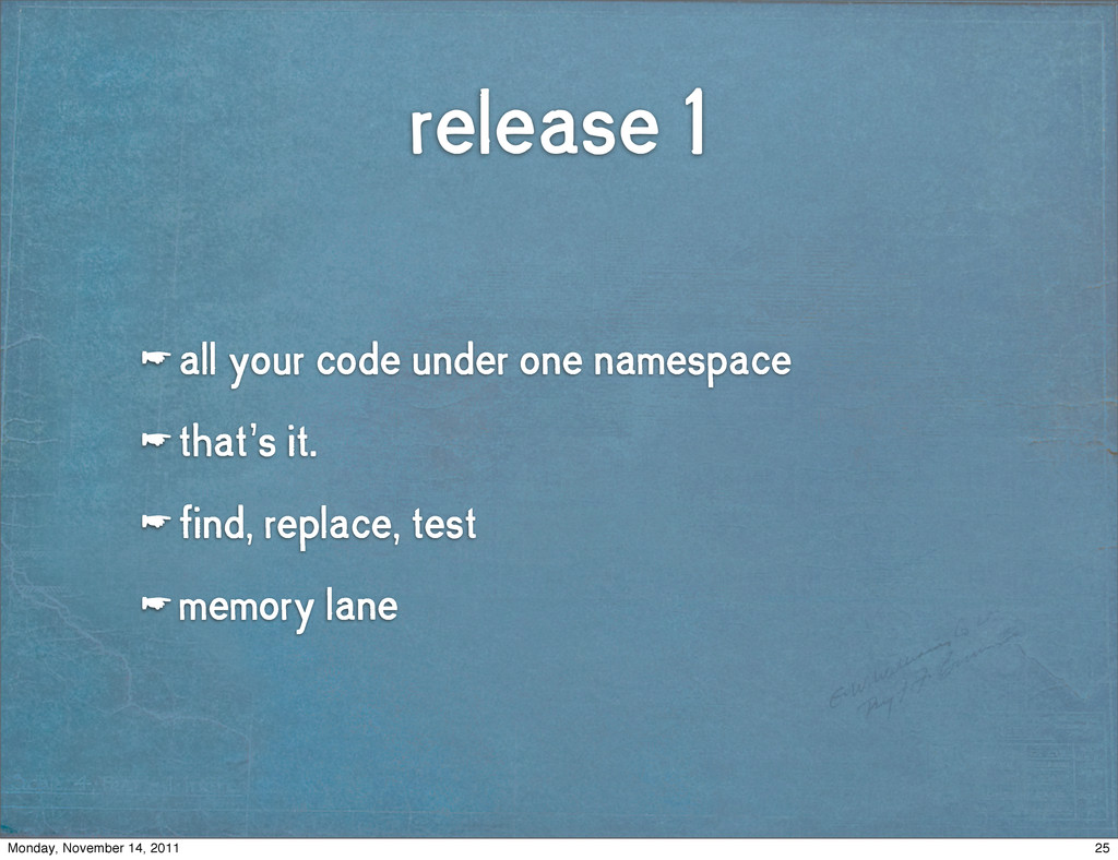 release 1 ☛ all your code under one namespace ☛...