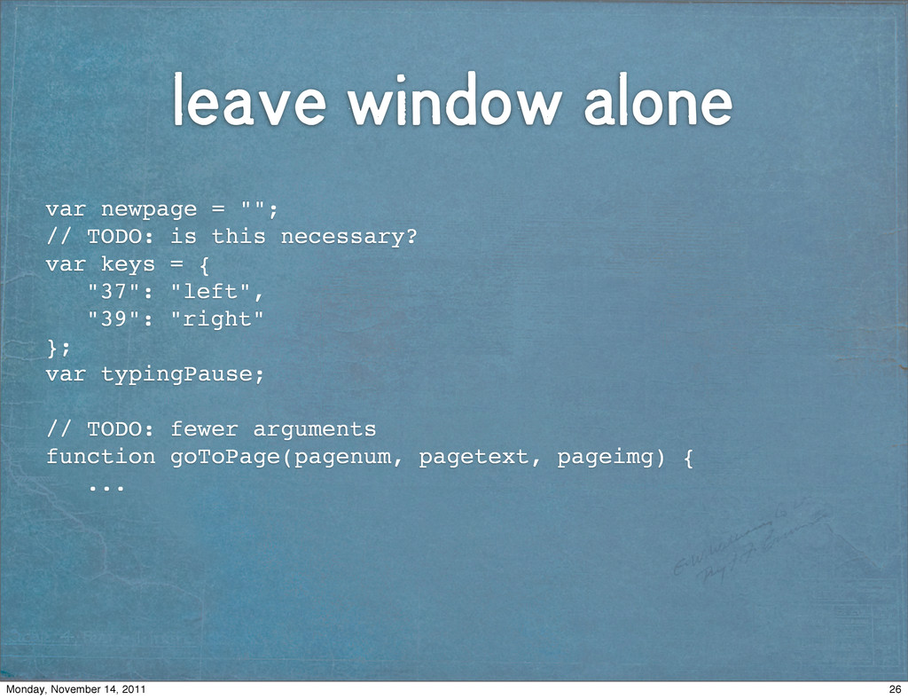 """leave window alone var newpage = """"""""; // TODO: i..."""