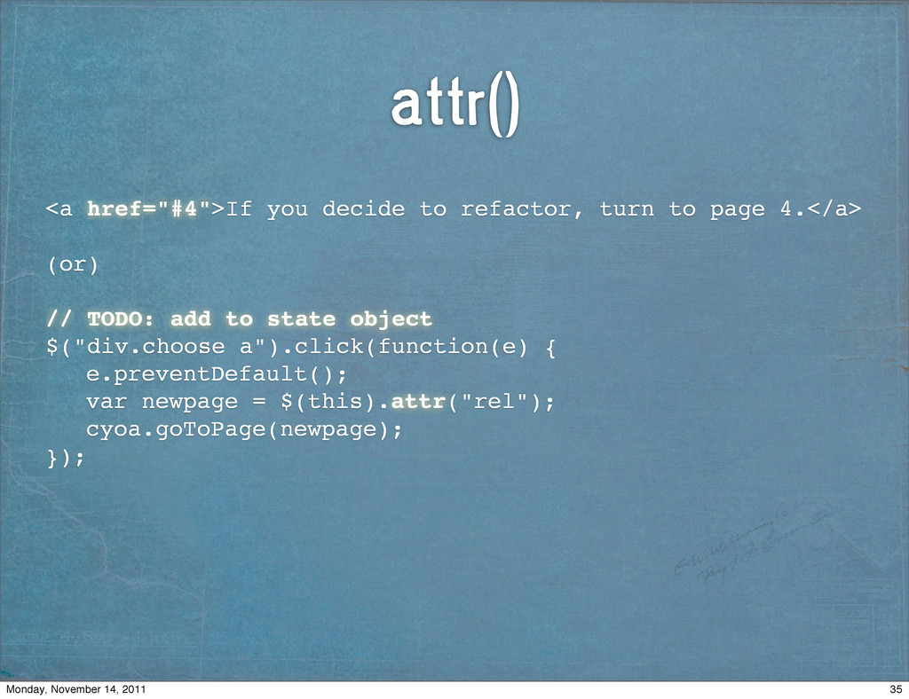 """attr() <a href=""""#4"""">If you decide to refactor, ..."""