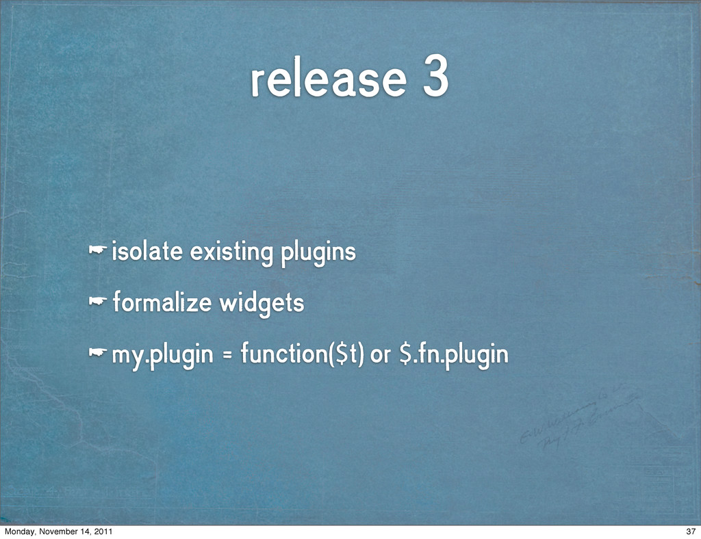 release 3 ☛ isolate existing plugins ☛ formaliz...