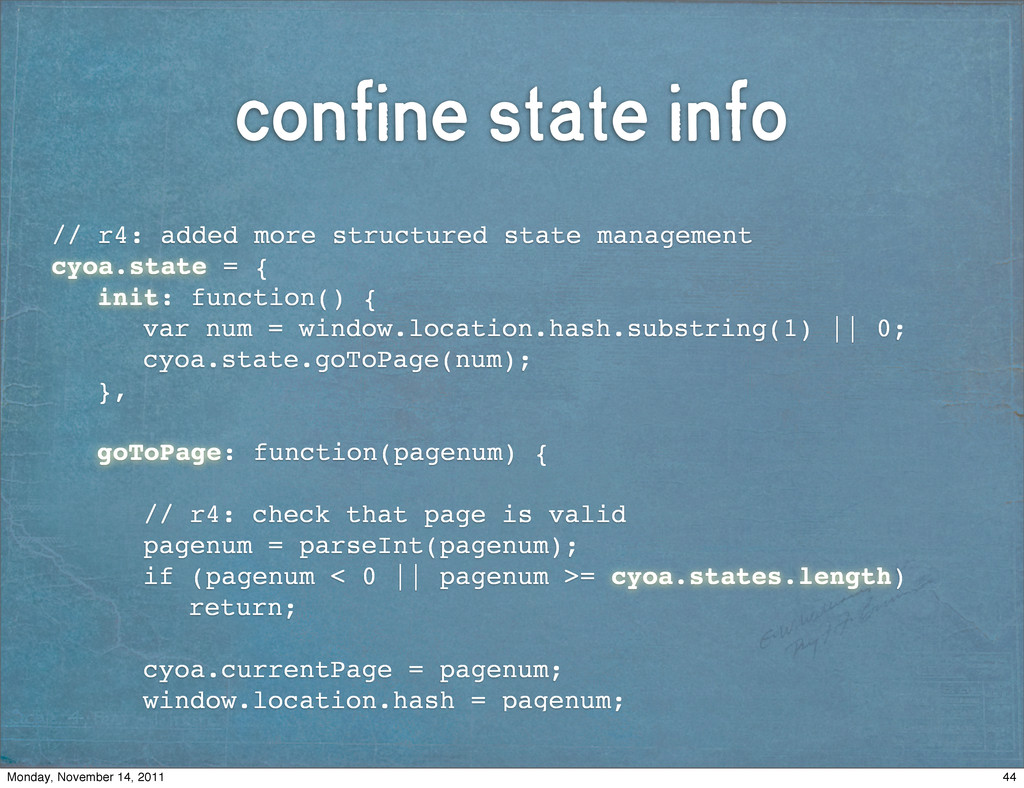 confine state info // r4: added more structured...