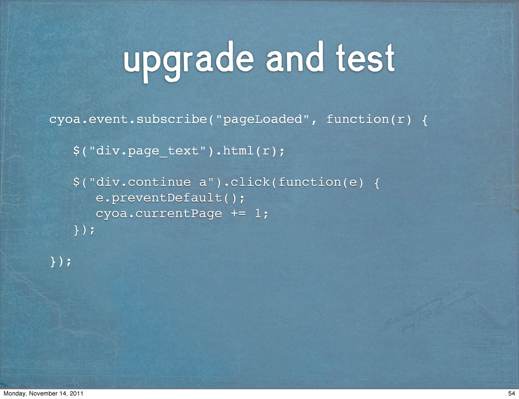 """upgrade and test ! cyoa.event.subscribe(""""pageLo..."""